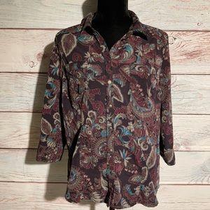 Lg Croft & Barrow button down blouse. 3/4 sleeve